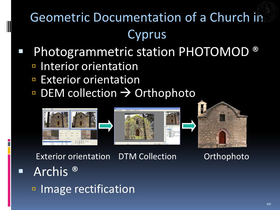 Photogrammetric station PHOTOMOD ® Interior orientation Exterior orientation DEM collection Orthophoto Exterior orientation DTM Collection Orthophoto Archis ® Image rectification 10 Geometric Documentation of a Church in Cyprus