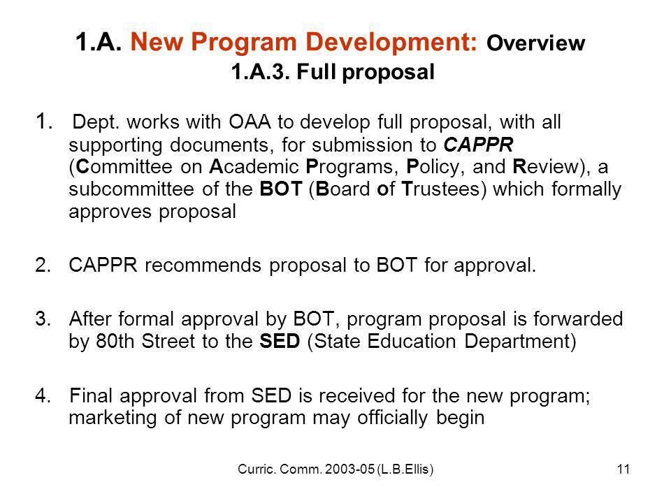 Curric. Comm. 2003-05 (L.B.Ellis)11 1.A. New Program Development: Overview 1.A.3.
