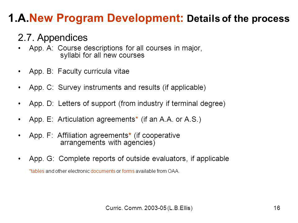 Curric. Comm. 2003-05 (L.B.Ellis)16 1.A.New Program Development: Details of the process 2.7.