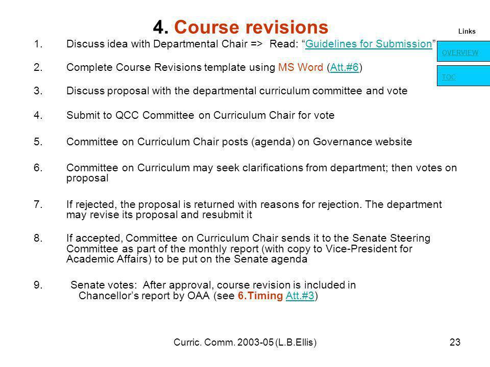 Curric. Comm. 2003-05 (L.B.Ellis)23 4.
