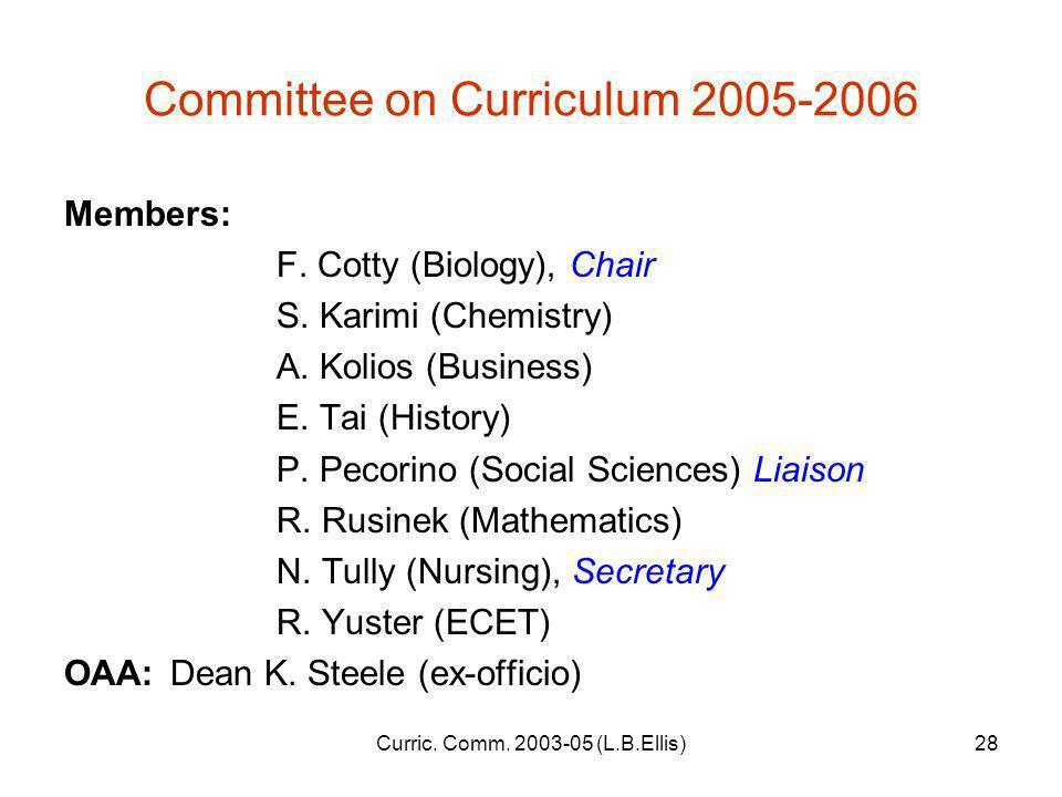 Curric. Comm. 2003-05 (L.B.Ellis)28 Committee on Curriculum 2005-2006 Members: F.
