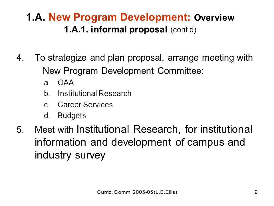Curric. Comm. 2003-05 (L.B.Ellis)9 1.A. New Program Development: Overview 1.A.1.