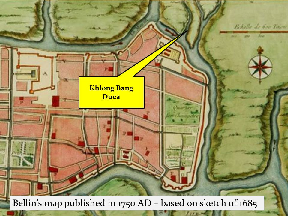 Khlong Bang Duea Bellins map published in 1750 AD – based on sketch of 1685