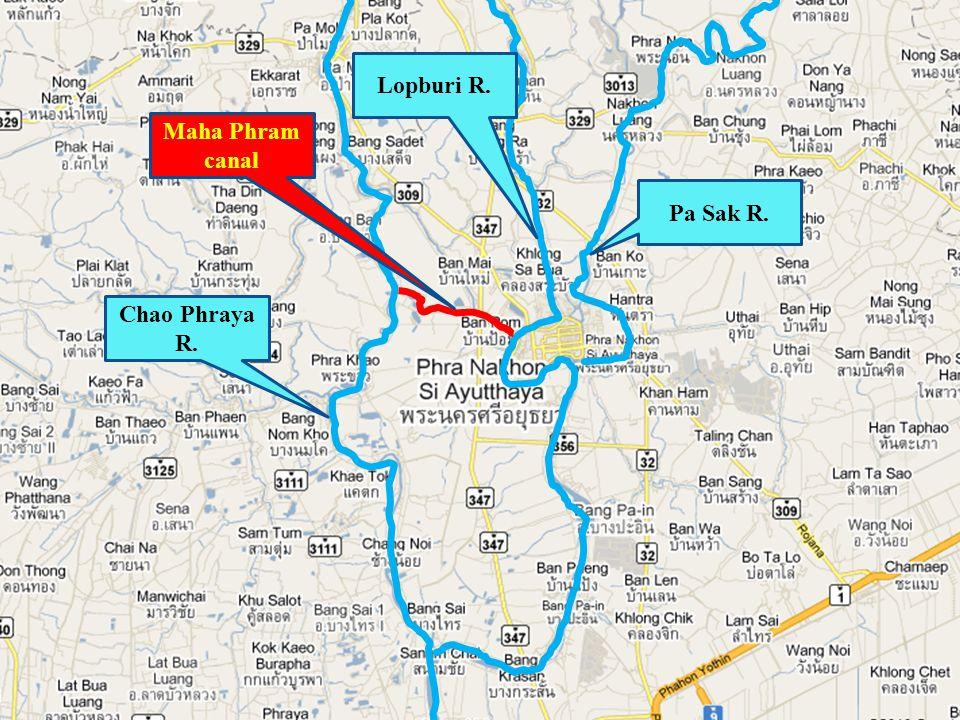 Maha Phram canal Chao Phraya R. Lopburi R. Pa Sak R.