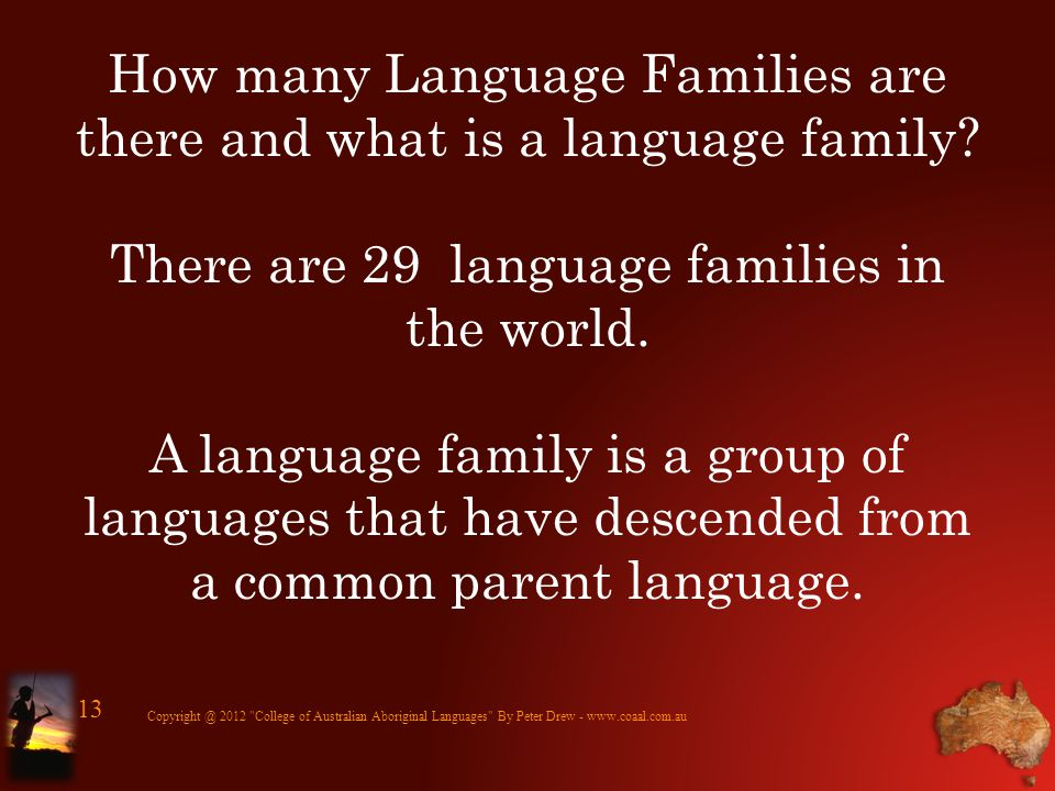 How many Language Families are there and what is a language family? There are 29 language families in the world. A language family is a group of langu