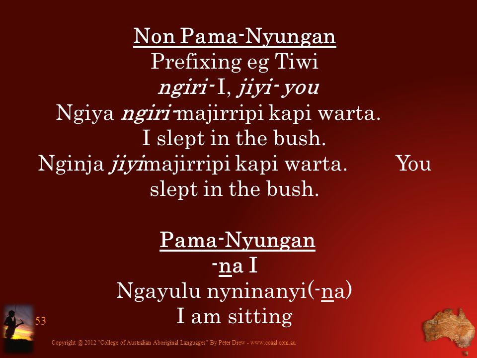 Copyright @ 2012 College of Australian Aboriginal Languages By Peter Drew - www.coaal.com.au 54