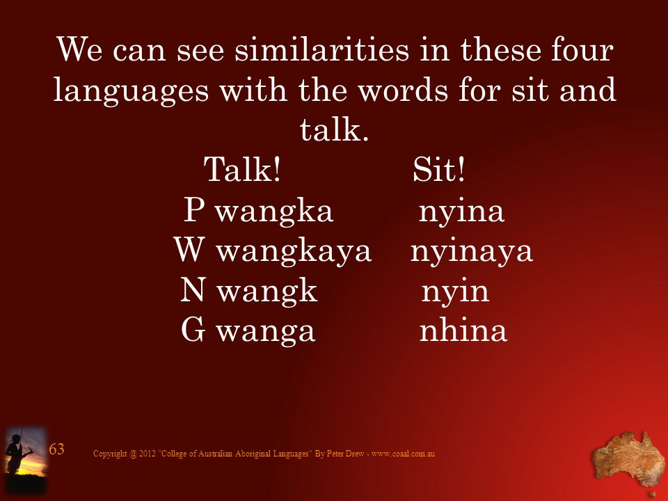 We can see similarities in these four languages with the words for sit and talk. Talk! Sit! P wangka nyina W wangkaya nyinaya N wangk nyin G wanga nhi