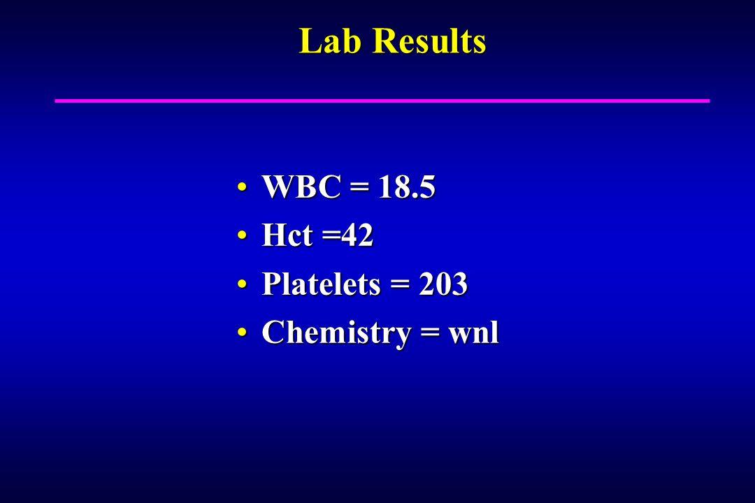 Lab Results WBC = 18.5WBC = 18.5 Hct =42Hct =42 Platelets = 203Platelets = 203 Chemistry = wnlChemistry = wnl
