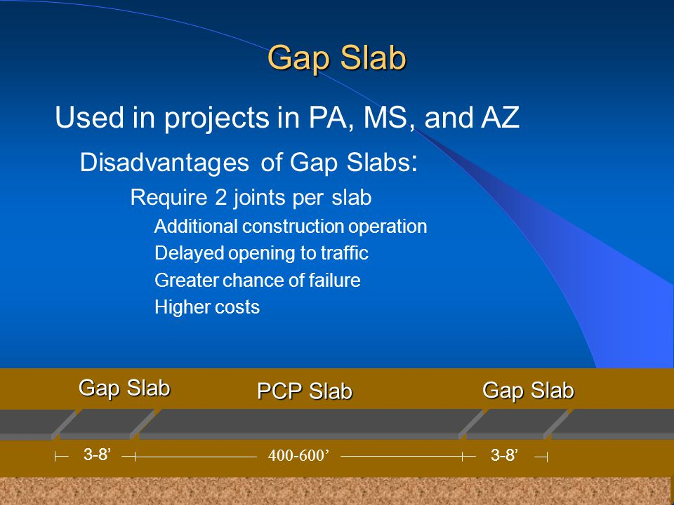 Used in projects in PA, MS, and AZ Disadvantages of Gap Slabs : Require 2 joints per slab Additional construction operation Delayed opening to traffic Greater chance of failure Higher costs PCPSlab PCP Slab 400-600 GapSlab Gap Slab 3-8 Gap Slab