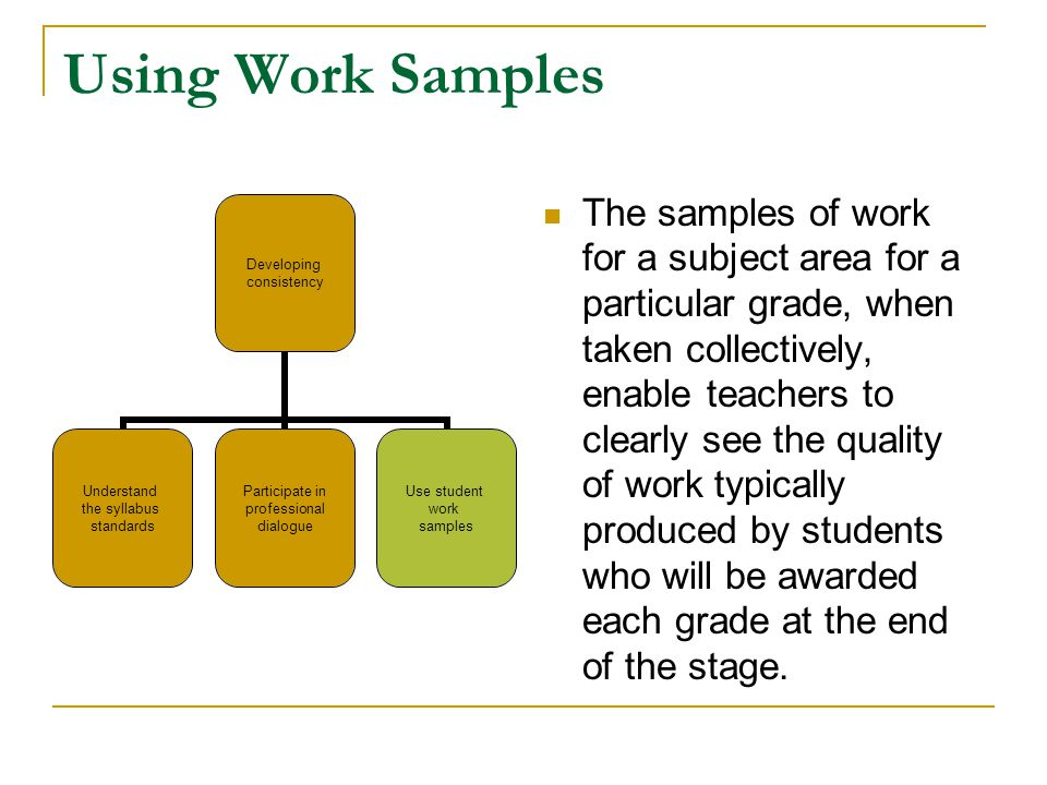 Using Work Samples The samples of work for a subject area for a particular grade, when taken collectively, enable teachers to clearly see the quality