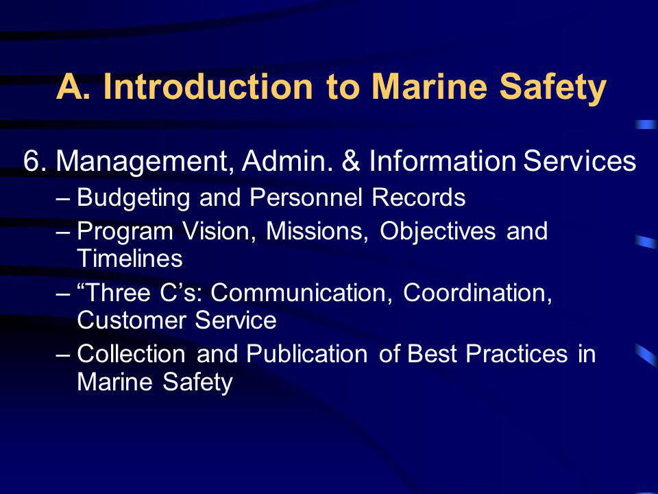 A. Introduction to Marine Safety 6. Management, Admin. & Information Services –Budgeting and Personnel Records –Program Vision, Missions, Objectives a