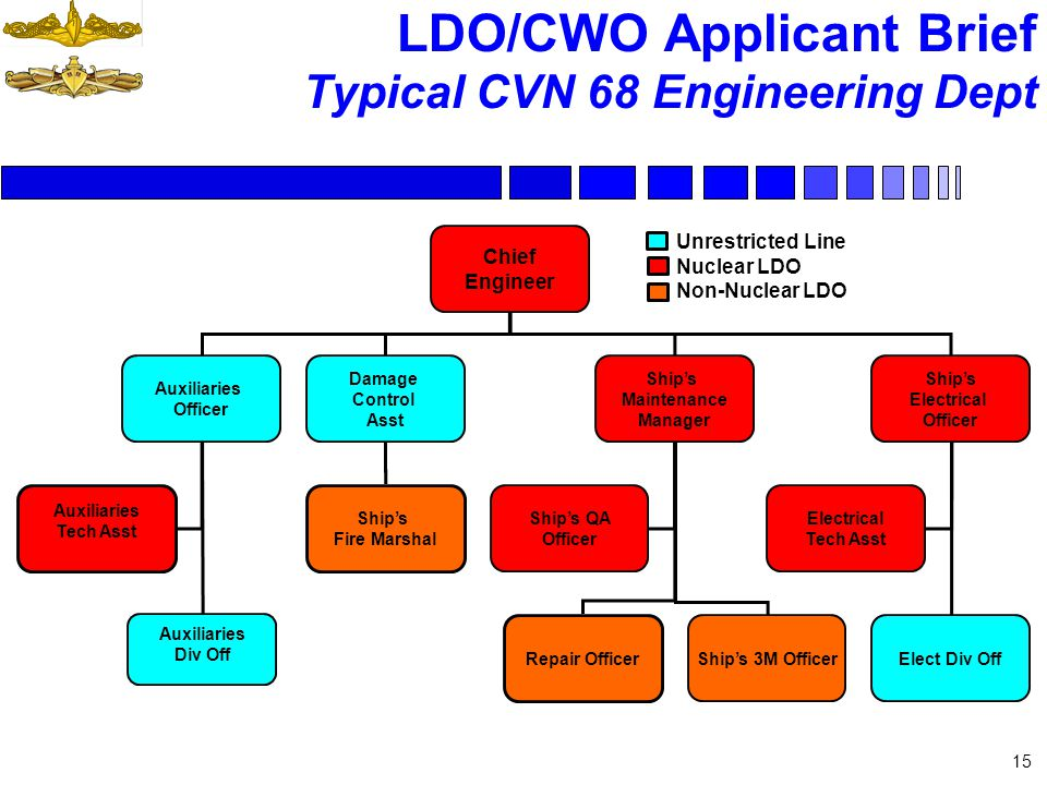 15 LDO/CWO Applicant Brief Typical CVN 68 Engineering Dept Chief Engineer Auxiliaries Officer Damage Control Asst Ships Maintenance Manager Ships Elec
