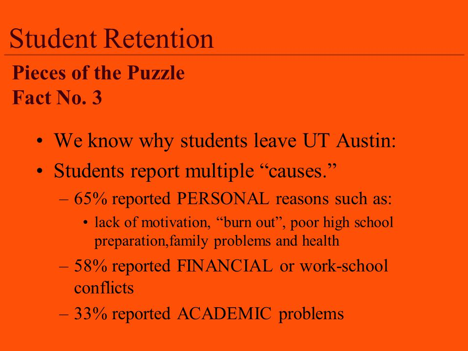 Student Retention We know why students leave UT Austin: Students report multiple causes.