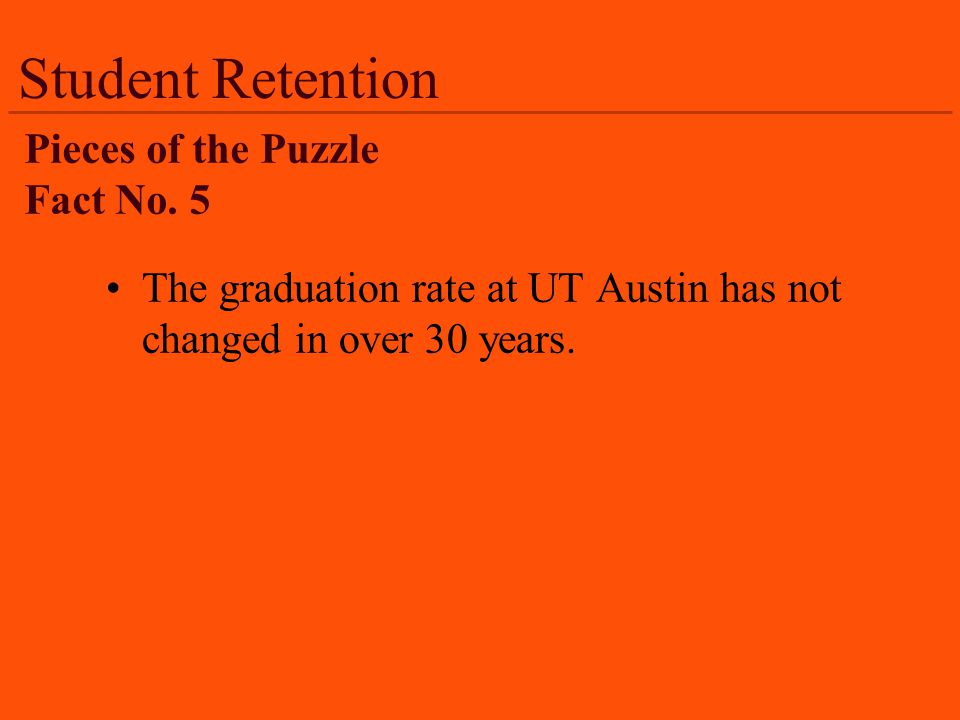 Student Retention The graduation rate at UT Austin has not changed in over 30 years.