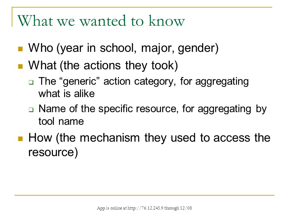 App is online at http://76.12.245.9 through 12/08 What we wanted to know Who (year in school, major, gender) What (the actions they took) The generic action category, for aggregating what is alike Name of the specific resource, for aggregating by tool name How (the mechanism they used to access the resource)