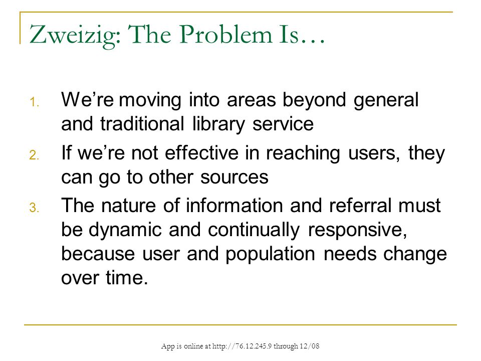 App is online at http://76.12.245.9 through 12/08 Zweizig: The solution is… 1.