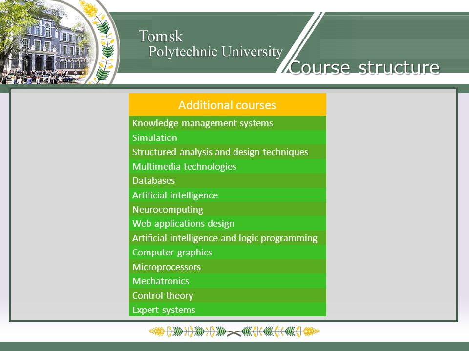 Additional courses Knowledge management systems Simulation Structured analysis and design techniques Multimedia technologies Databases Artificial intelligence Neurocomputing Web applications design Artificial intelligence and logic programming Computer graphics Microprocessors Mechatronics Control theory Expert systems Course structure