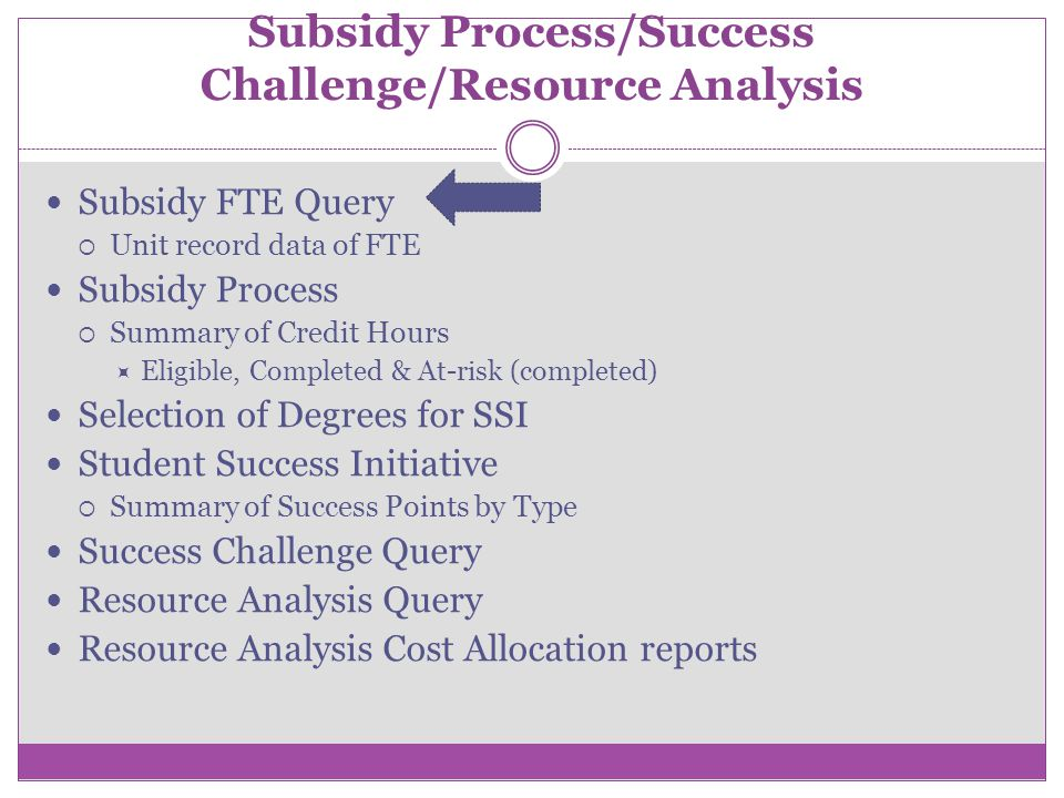 Subsidy Process/Success Challenge/Resource Analysis Subsidy FTE Query Unit record data of FTE Subsidy Process Summary of Credit Hours Eligible, Completed & At-risk (completed) Selection of Degrees for SSI Student Success Initiative Summary of Success Points by Type Success Challenge Query Resource Analysis Query Resource Analysis Cost Allocation reports
