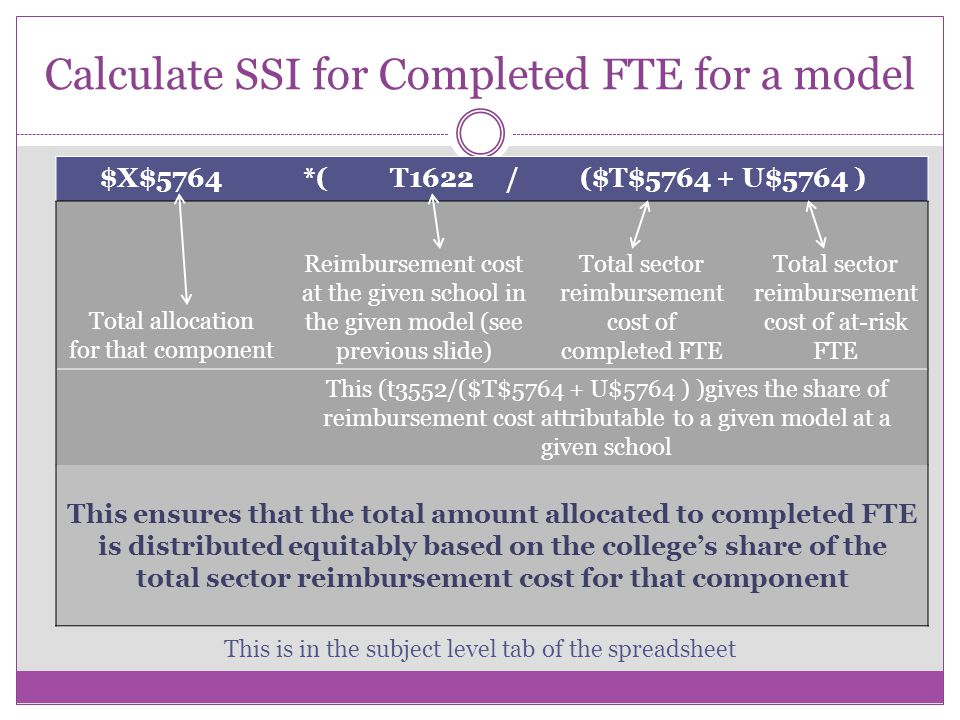 Calculate SSI for Completed FTE for a model $X$5764 *( T1622 / ($T$5764 + U$5764 ) Total allocation for that component Reimbursement cost at the given school in the given model (see previous slide) Total sector reimbursement cost of completed FTE Total sector reimbursement cost of at-risk FTE This (t3552/($T$5764 + U$5764 ) )gives the share of reimbursement cost attributable to a given model at a given school This ensures that the total amount allocated to completed FTE is distributed equitably based on the colleges share of the total sector reimbursement cost for that component This is in the subject level tab of the spreadsheet