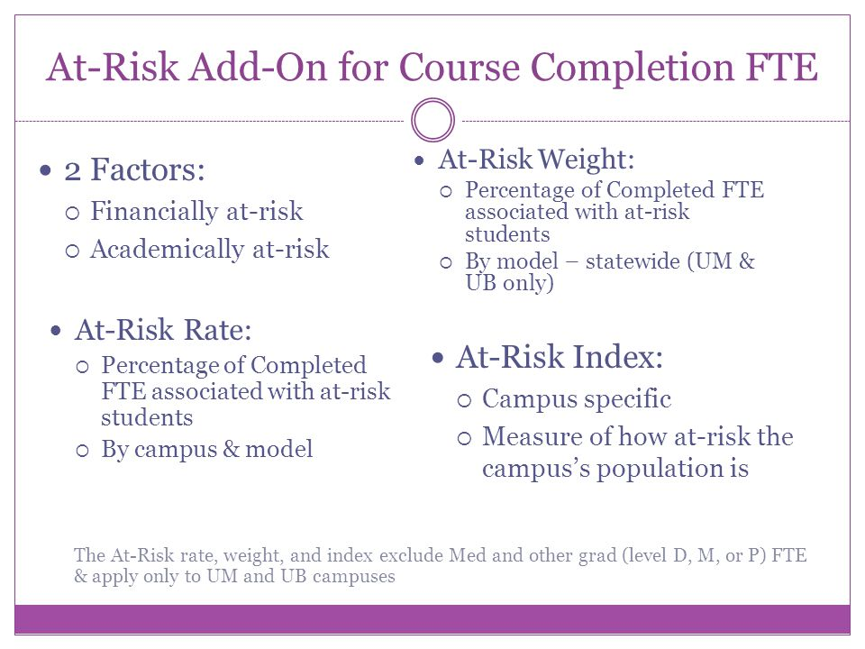 At-Risk Add-On for Course Completion FTE 2 Factors: Financially at-risk Academically at-risk At-Risk Rate: Percentage of Completed FTE associated with at-risk students By campus & model At-Risk Weight: Percentage of Completed FTE associated with at-risk students By model – statewide (UM & UB only) The At-Risk rate, weight, and index exclude Med and other grad (level D, M, or P) FTE & apply only to UM and UB campuses At-Risk Index: Campus specific Measure of how at-risk the campuss population is