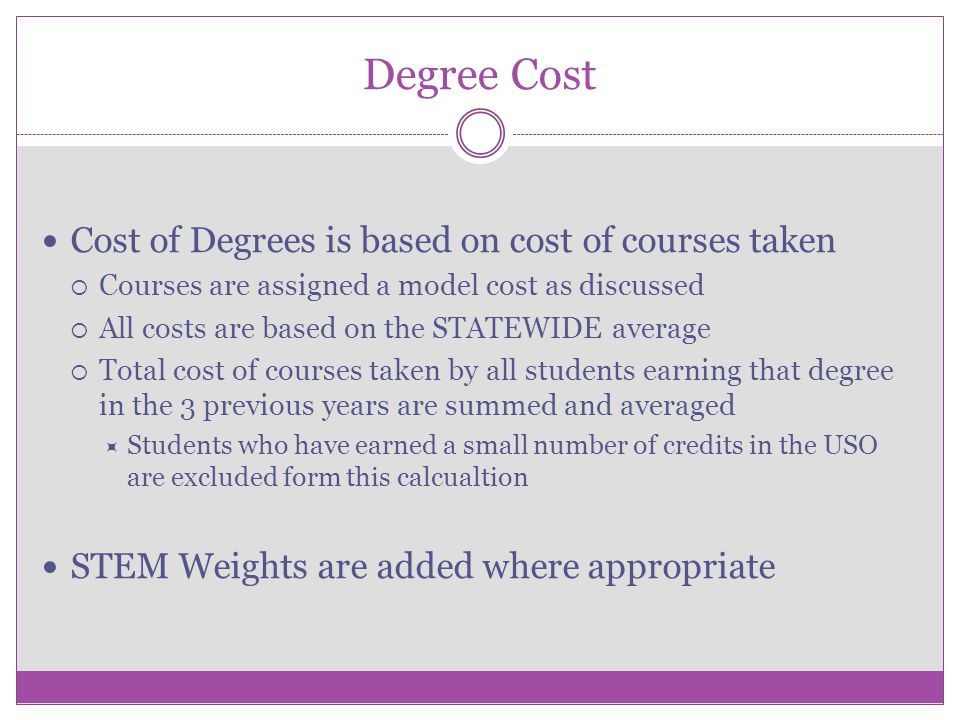Degree Cost Cost of Degrees is based on cost of courses taken Courses are assigned a model cost as discussed All costs are based on the STATEWIDE aver