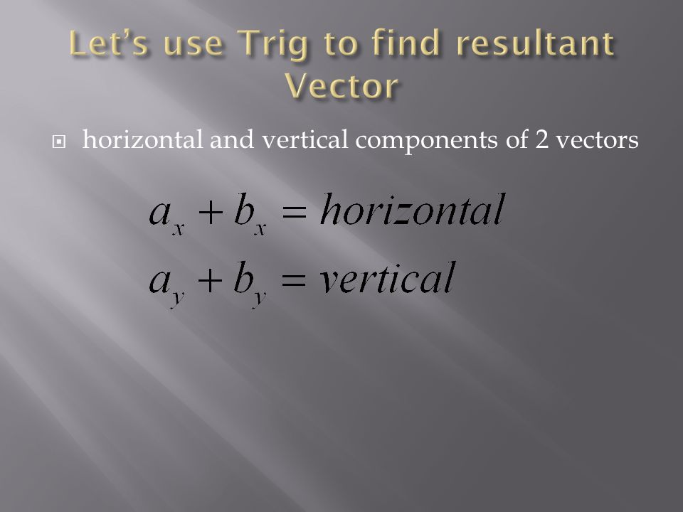 horizontal and vertical components of 2 vectors