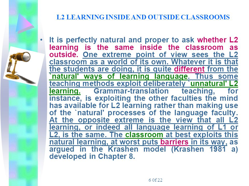 7 0f 22 L2 LEARNING INSIDE AND OUTSIDE CLASSROOMS ……..