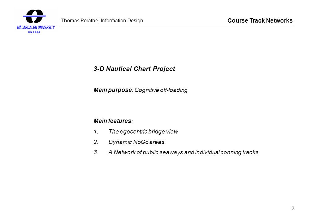 Thomas Porathe, Information Design Course Track Networks 2 3-D Nautical Chart Project Main purpose: Cognitive off-loading Main features: 1.The egocent