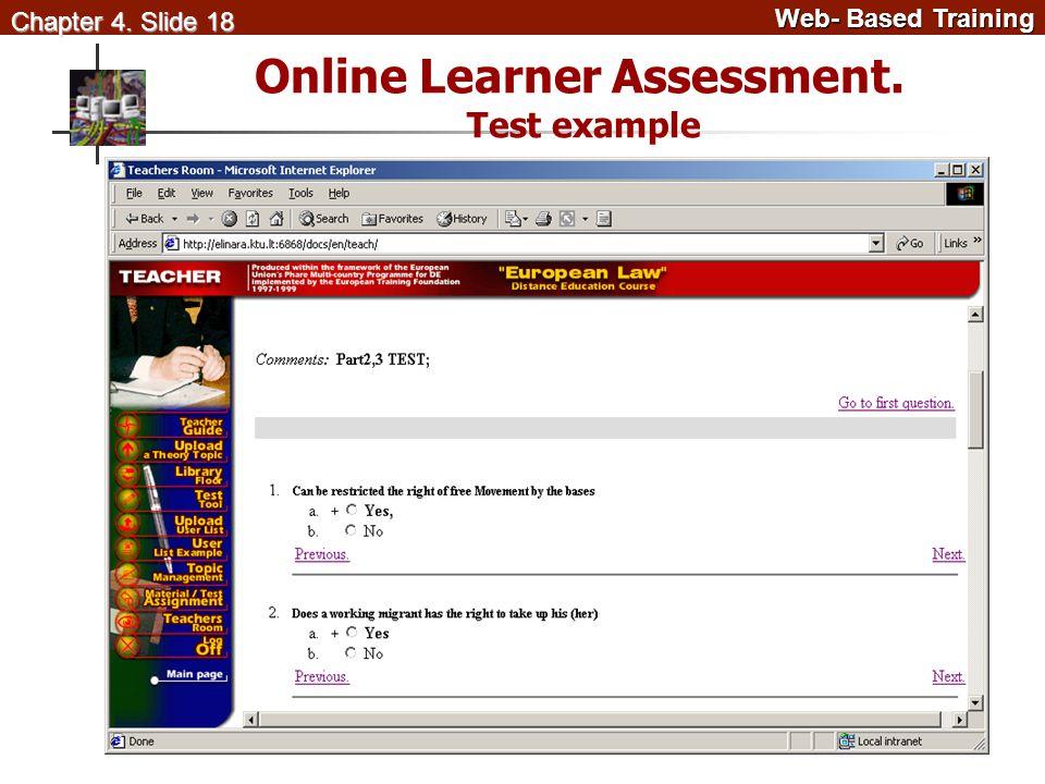 Web- Based Training Web- Based Training Chapter 4. Slide 18 Online Learner Assessment. Test example