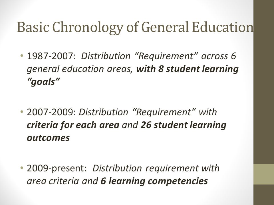 Basic Chronology of General Education 1987-2007: Distribution Requirement across 6 general education areas, with 8 student learning goals 2007-2009: Distribution Requirement with criteria for each area and 26 student learning outcomes 2009-present: Distribution requirement with area criteria and 6 learning competencies
