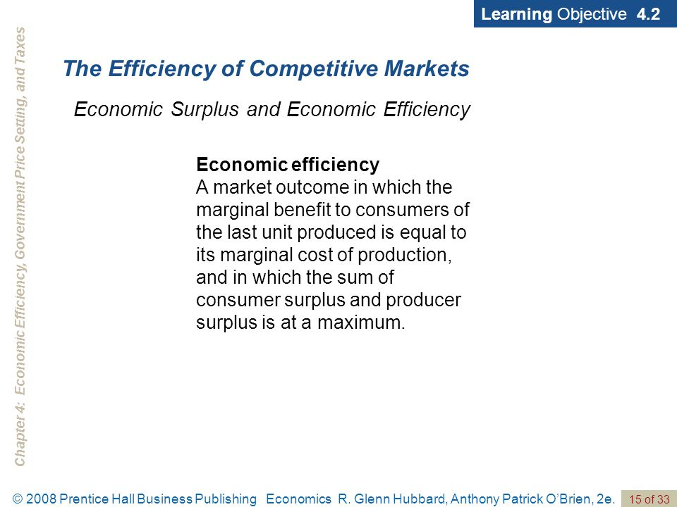 Chapter 4: Economic Efficiency, Government Price Setting, and Taxes 15 of 33 © 2008 Prentice Hall Business Publishing Economics R.