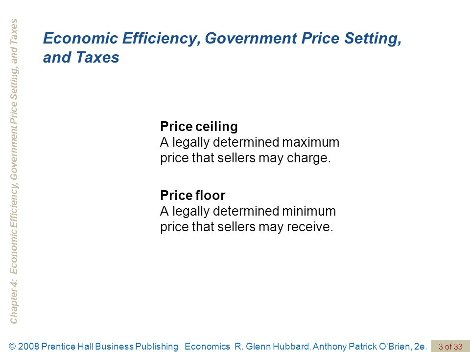 Chapter 4: Economic Efficiency, Government Price Setting, and Taxes 3 of 33 © 2008 Prentice Hall Business Publishing Economics R.