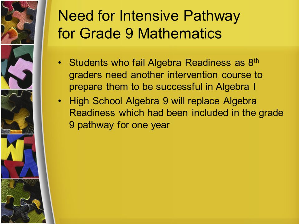 High School Algebra 9 is a Freshmen only section of High School Algebra (Pacemaker) leading up to Algebra I with Shadow High School Algebra 9 is designed as an intervention course for 9th graders meeting the intensive criteria for math.