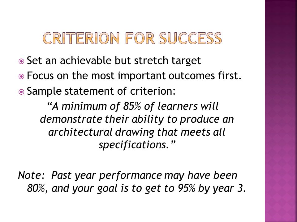 Set an achievable but stretch target Focus on the most important outcomes first.