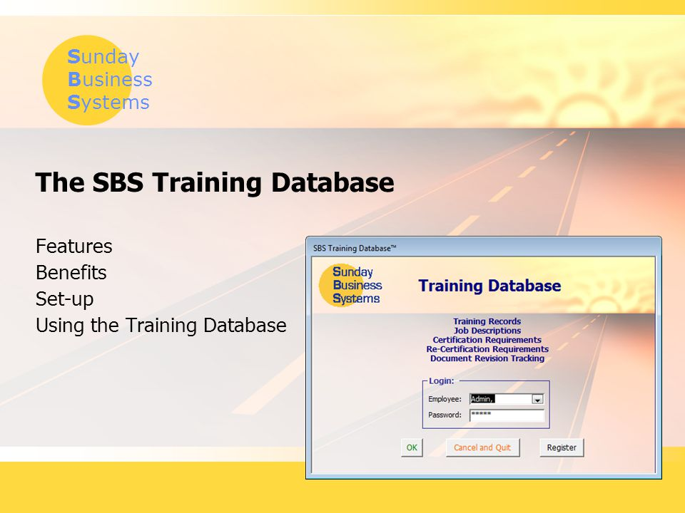 Sunday Business Systems www.SundayBizSys.com Define salary, hourly Define Temporary, contractor, or special category employee types Add Employee Types Use
