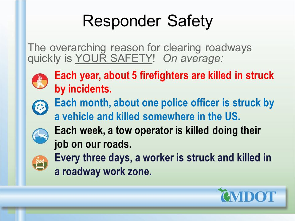 Responder Safety The overarching reason for clearing roadways quickly is YOUR SAFETY.