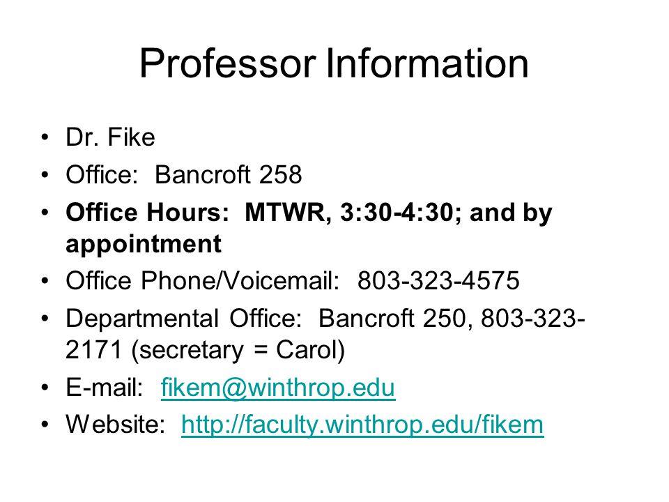 Professor Information Dr.
