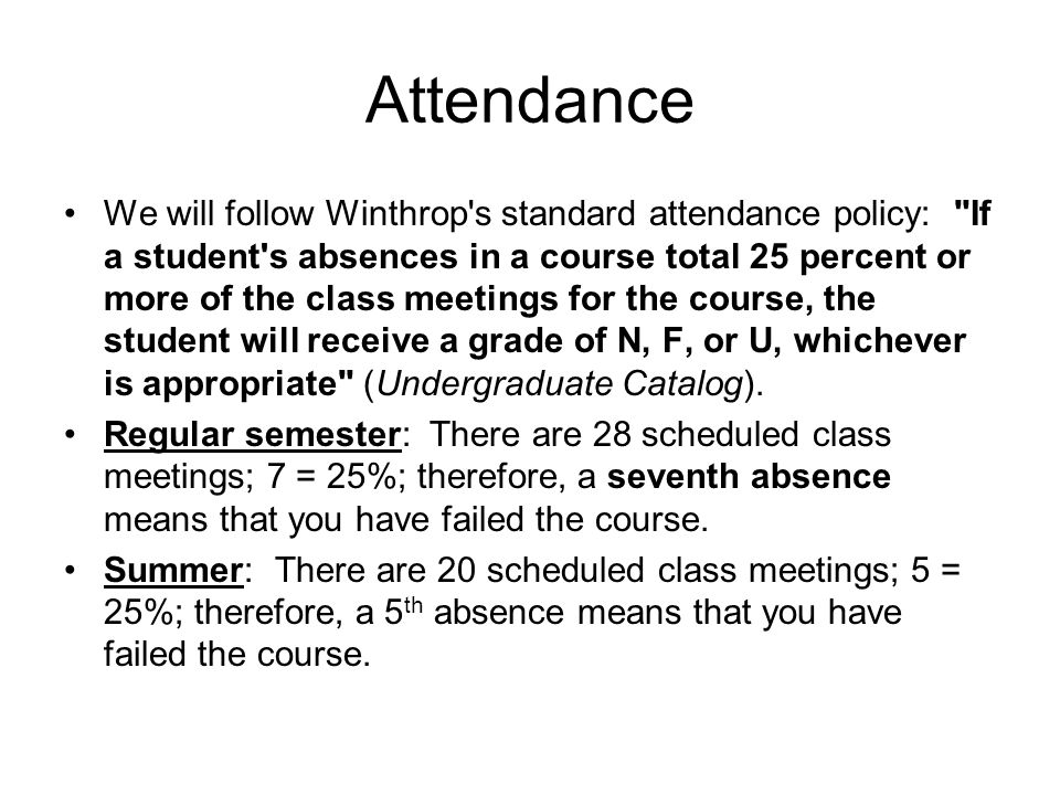 Attendance We will follow Winthrop s standard attendance policy: If a student s absences in a course total 25 percent or more of the class meetings for the course, the student will receive a grade of N, F, or U, whichever is appropriate (Undergraduate Catalog).
