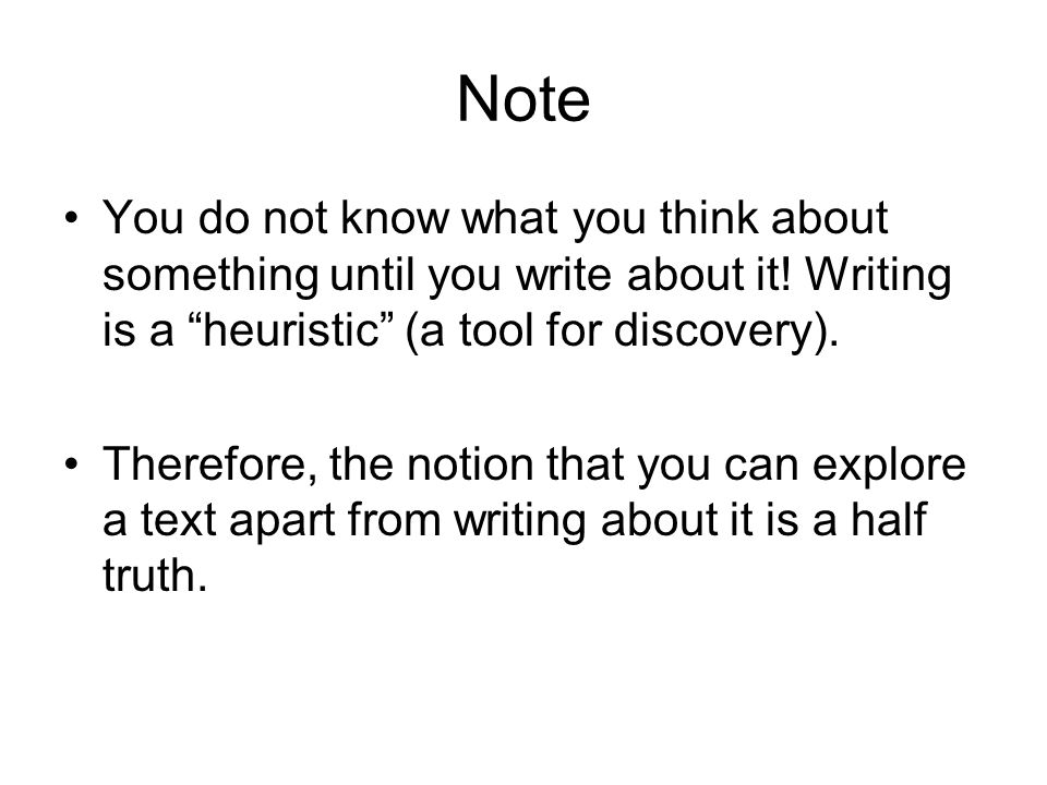 Note You do not know what you think about something until you write about it.