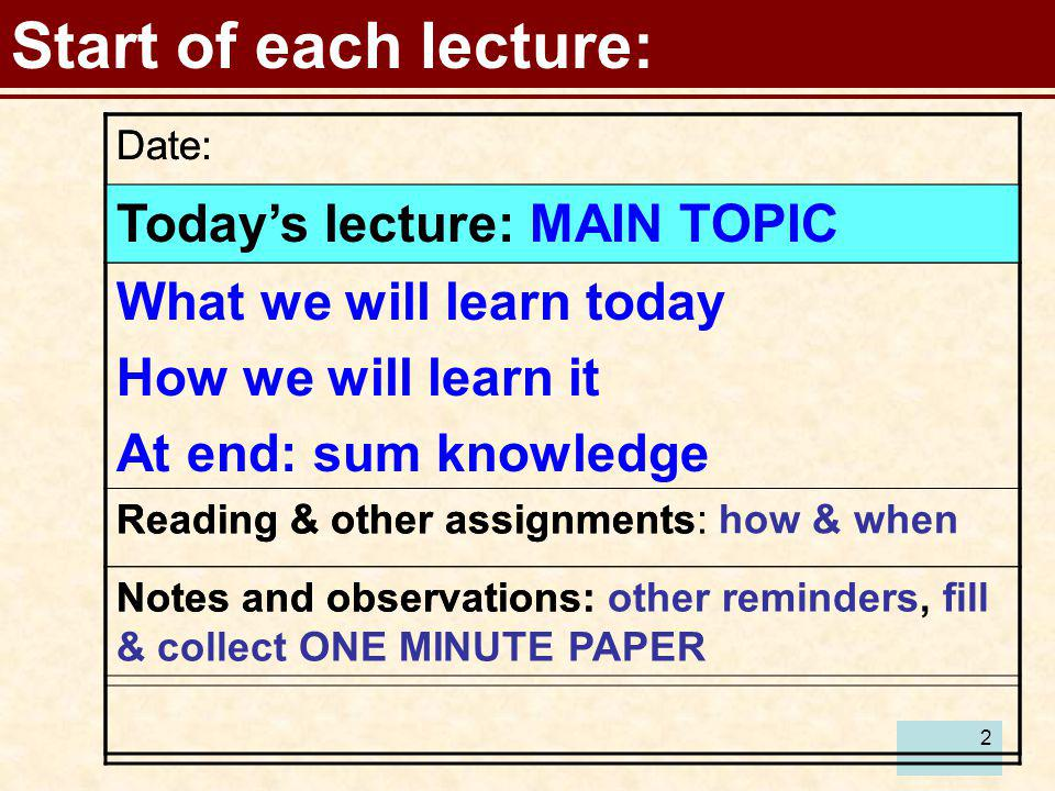 2 Start of each lecture: Date: Todays lecture: Reading & other assignments: Notes and observations: Date: Todays lecture: MAIN TOPIC What we will lear