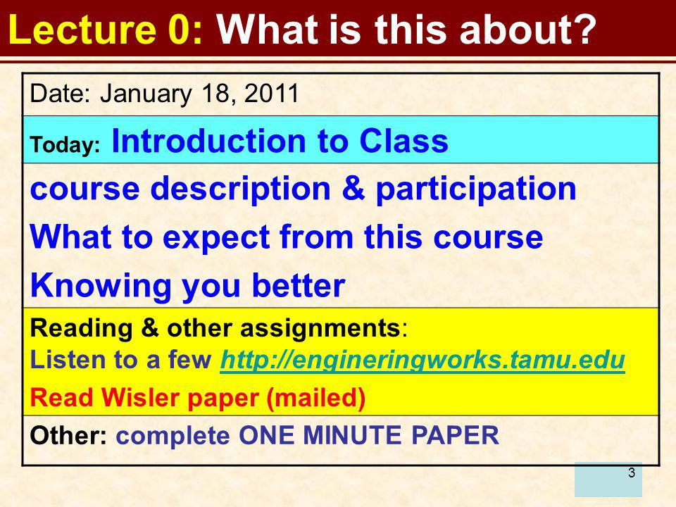 3 Lecture 0: What is this about? Date: January 18, 2011 Today: Introduction to Class course description & participation What to expect from this cours