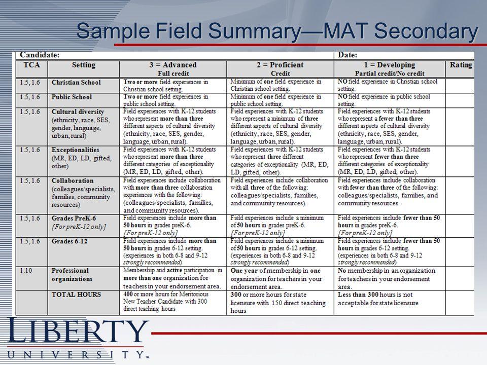 Sample Field SummaryMAT Secondary