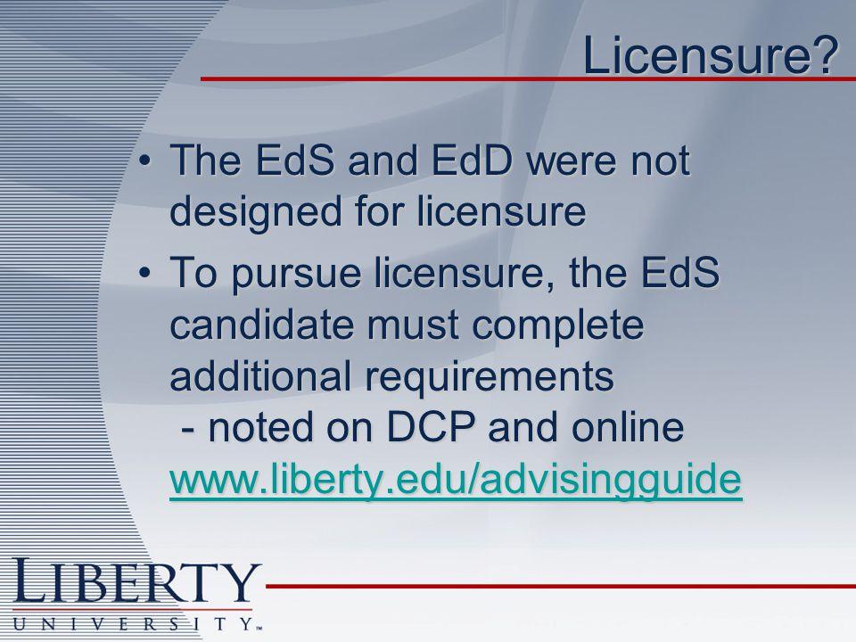 Licensure.