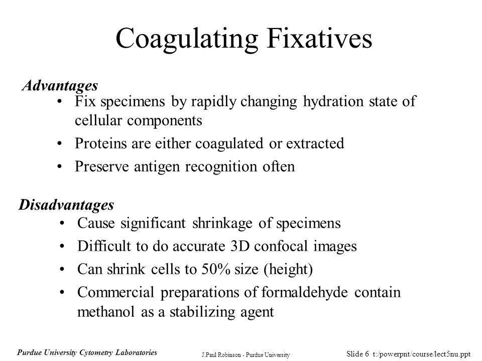 Slide 7 t:/powerpnt/course/lect5nu.ppt J.Paul Robinson - Purdue University Purdue University Cytometry Laboratories Crosslinking Fixatives Glutaraldehyde Formaldehyde Ethelene glycol-bis-succinimidyl succinate (EGS)