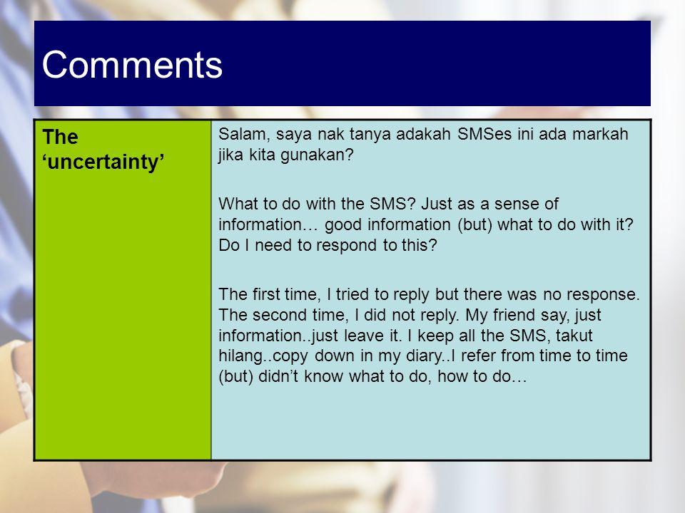 Comments The uncertainty Salam, saya nak tanya adakah SMSes ini ada markah jika kita gunakan? What to do with the SMS? Just as a sense of information…
