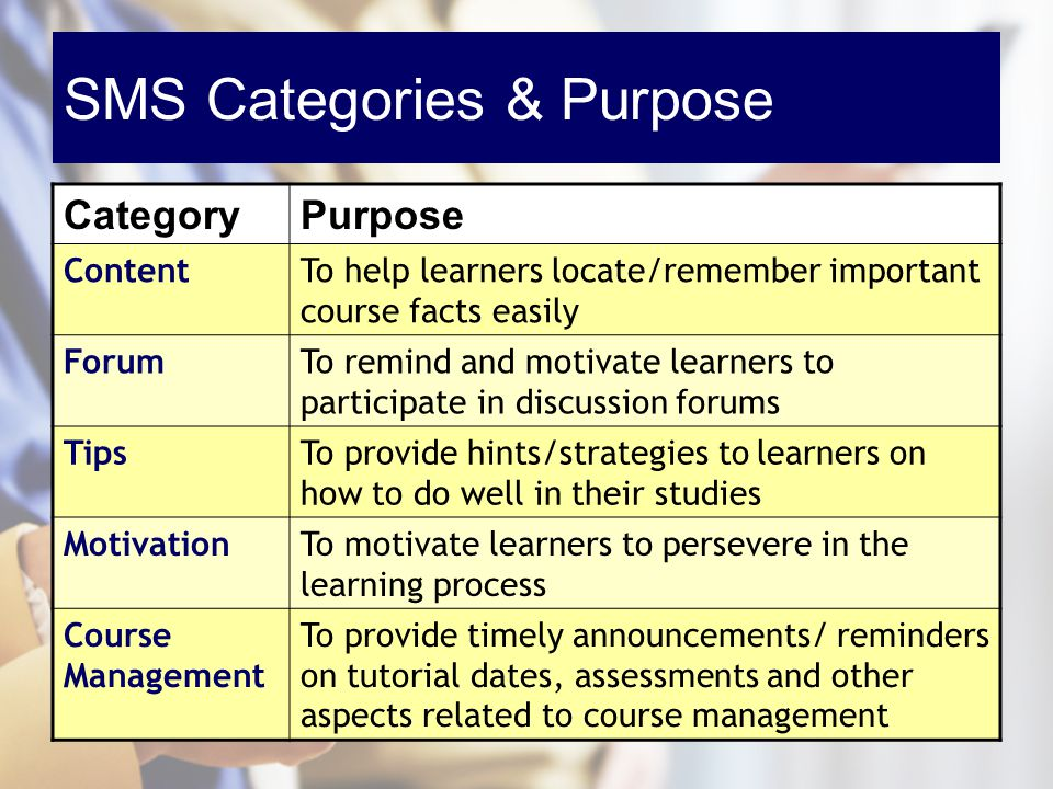SMS Categories & Purpose CategoryPurpose ContentTo help learners locate/remember important course facts easily ForumTo remind and motivate learners to participate in discussion forums TipsTo provide hints/strategies to learners on how to do well in their studies MotivationTo motivate learners to persevere in the learning process Course Management To provide timely announcements/ reminders on tutorial dates, assessments and other aspects related to course management