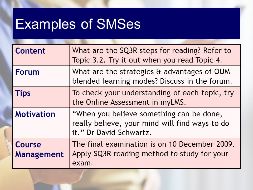 Examples of SMSes Content What are the SQ3R steps for reading? Refer to Topic 3.2. Try it out when you read Topic 4. Forum What are the strategies & a
