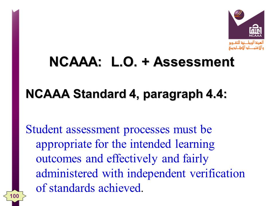 NCAAA: L.O. + Assessment NCAAA Standard 4, paragraph 4.4: Student assessment processes must be appropriate for the intended learning outcomes and effe