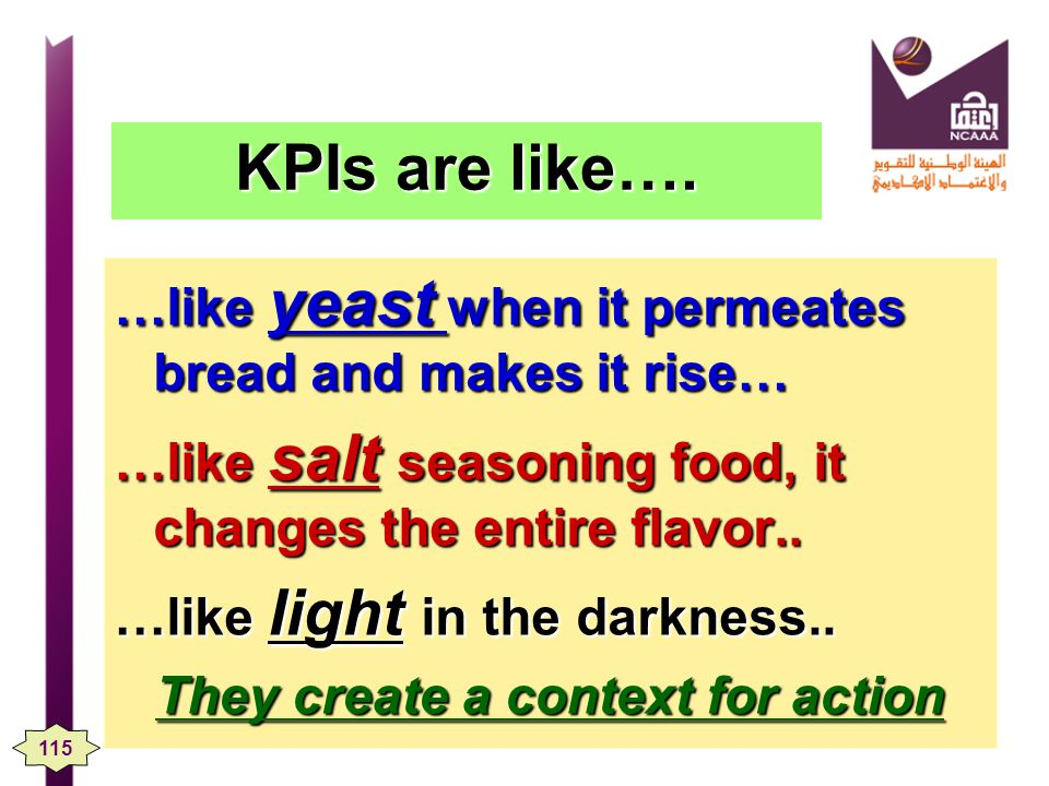 KPIs are like…. …like yeast when it permeates bread and makes it rise… …like salt seasoning food, it changes the entire flavor.. …like light in the da