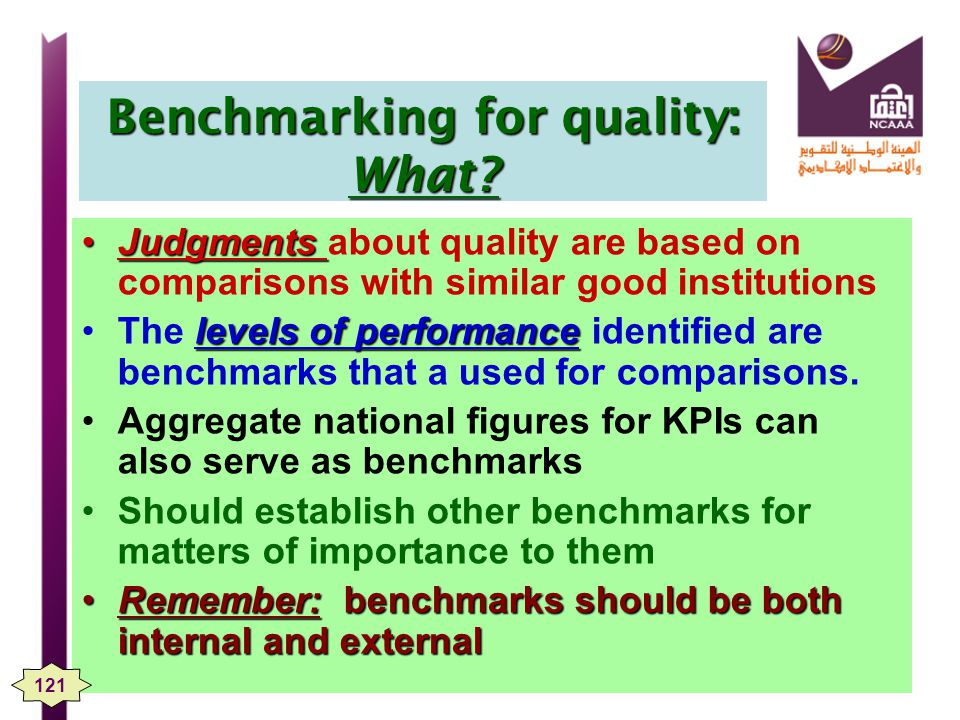 Benchmarking for quality: What.